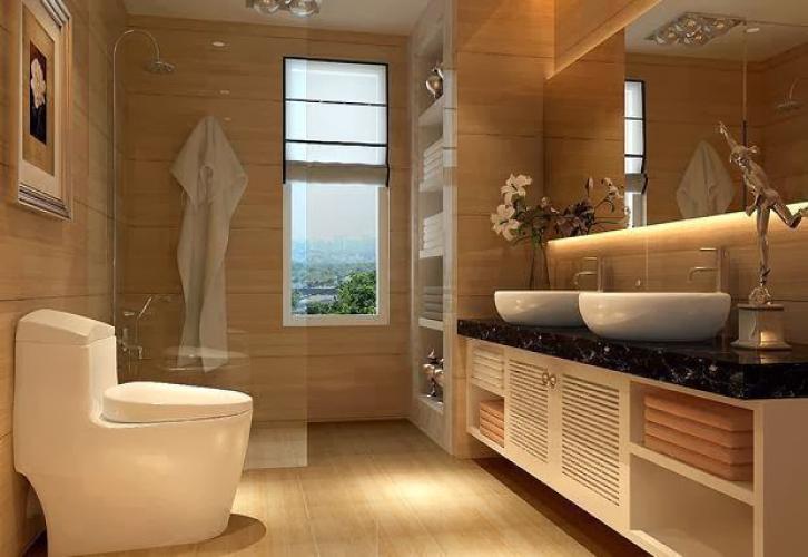 de banho com pormenores de luxo Projetos de decoração de interiores